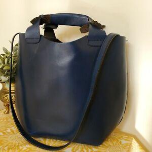 Zara Buffalo Leather  Tote Bag Shoulder Shopper Bag Navy Blue Medium