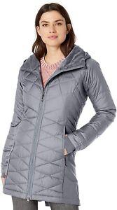New Columbia Heavenly Long Hybrid Hooded Jacket Women's Medium Tradewinds Grey