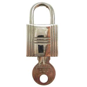 HERMES Set of Padlock & Key Cadena Silver-Tone Bag Accessories Charm 00357