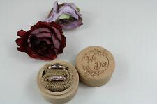 Wooden Round Wedding Ring Box Jewelry Trinket  Wood Storage Container Case x1