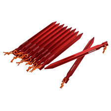Brand 10pcs 25cm 9.8in Tent Stakes w/ Rope&Bag Aluminum Alloy Triangular Pegs