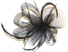 NEW Black large looped net and feather fascinator clip pin wedding prom