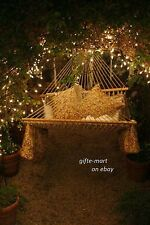 extra wide Xl White Cotton rope mesh net 2 person double Hammock swing 440 lbs