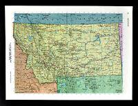 c1970 McNally Cosmo Map - Montana - Billings Butte helena Great Falls Missoula