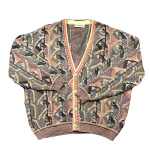 Vintage Vaporwave Cardigan Sweater Oversize Coogi Style 3d Knit St. Croix L