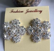 Clear Flower Crystal Rhinestone Earrings Stud Wedding Bridal Party Prom Jewelry