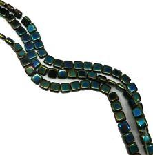 Iris Green Czechmate 6mm Square Glass Czech Two Hole Tile Bead 25 Beads