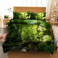 Natural Forest 3D Quilt Duvet Doona Cover Set Single Double Queen King Print