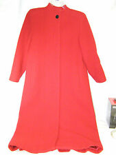 Vintage Nipon Coature Long Red Wool & Cashmere Women's Coat Hidden Buttons Sz 6