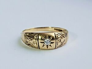 Vintage Style 9ct Gold Diamond Gypsy Ring Size O
