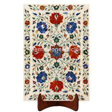 "15""x10"" White Marble Serving Tray Carnelian Lapis Floral Art Kitchen Decorative"