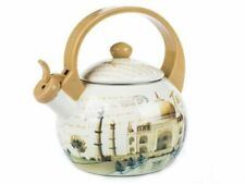 Flötenkessel 2.2L Orient-Motiv Retro Emaille Wasserkocher Teekessel Pfeifentopf