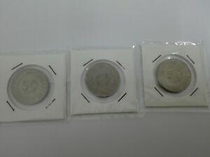 (CN 0084) 1974 & 81 Singapore 50 Cents x 3