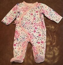 Jessica Simpson Floral Printed Asymmetrical Snap Front Footie 3-6 Months