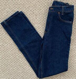 Vtg Levis 505 Classic Student Fit Orange Tab Jeans Dark Wash High Waist 28x34