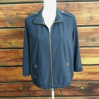 ZENERGY By CHICO'S Top M Light Jacket 3/4 sleeve zip up polyspanex navy sz 1