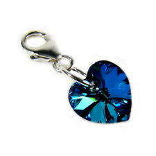 Small Bermuda Blue Crystal Heart Clip Charm Solid Silver Clasp - High Quality