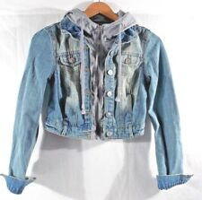 2dc904cc4655 dELiA s Women s Jr Color Medindig Hooded Jean denim Jacket Cropped