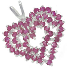 Ruby Gemstone Heart 25mm Sterling Silver Pendant + Chain
