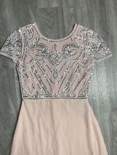 Boohoo Boutique Rosa Asos Maxi Vestido Cuello Redondo Perla Y Plata Lentejuelas es 10