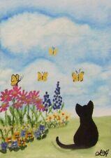 "ACEO Original Painting ~ Little Cat ~ ""Puffy Cloud Sky"" ~ Miniature Art"