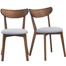 Set of 2 Dining Chairs Upholstered Curved Back Side Chair w/Solid Wooden Legs