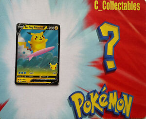 Pokemon Card Surfing Pikachu V 008/025 Celebrations 25th Anniversary Holo Rare