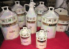 Vintage Mepoco Lusterware Lot of 8 Canisters, Spices, Cruets, Salt Box/ Germany