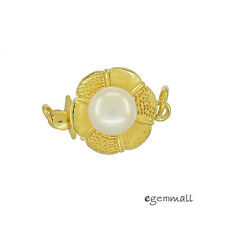 Genuine Pearl In Gold Plated Sterling Silver 1-Strand Pearl Box Clasp #99484
