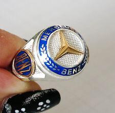 Handmade 925 Sterling Silver Men Ring MERCEDES CAR Logo #9