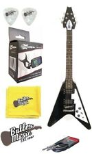 Effin Guitars FV/BK V Shaped Black Electric Guitar, Tuner Cable, and More Bundle