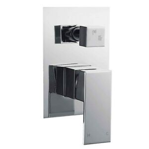 Chrome 2 Way Shower Mixer Valve Diverter Concealed Manual Bathroom Tap Square