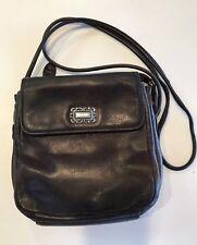 Vintage Small Deep Brown Leather FOSSIL Organizer Handbag; Good Condition