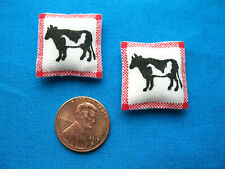 Miniature Dollhouse Pillows with Tiny Black and White Cows for Country Dollhouse