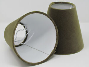 Small Candle Clip Tapered Lampshade Velvet Olive Green Chandelier
