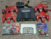 Nintendo 64 N64 Console bundle with 4 OEM controllers Mario Kart 64 Complete CIB