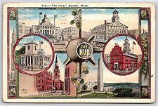The Hub in Boston, Massachusetts Multiple Views Buildings White Border Postcard