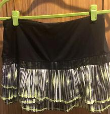 Lucky In Love Women's Tennis Skirt Size Medium 8-10, Black, Lime Green, White