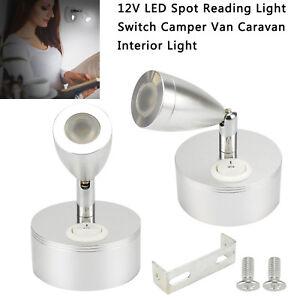 2x 12V LED Spot Reading Light Switch Camper Van Caravan For Boat Motorhome Light