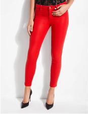 Guess Womens Sexy Curve Coated Skinny Jeans Size 25 Red Pocket Mid Rise NEW $98