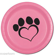 PUPPY PAWS Dog Love Pink Dinner Plate Birthday Party Supplies free shipping