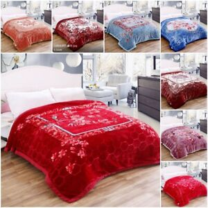 Super Soft Blanket 2 Ply Heavy Thick & Warm Bed Blanket King Size Flower Print