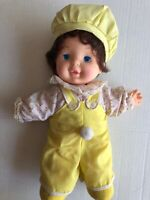 """12"""" Adorable Vintage Dolls Lovee Doll Co. Adorable Yellow Overalls And Cap"""