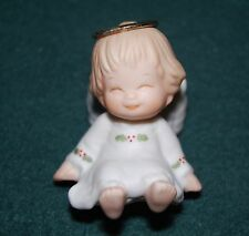1987 Enesco Holly Babes Angel Girl Figurine - designed by Ruth Morehead -Vintage