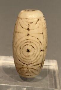 Taino. Fully Incised Marble Ovate Barrel Bead. PreColumbian