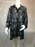 Style & Co Sheer Collared Button Down Blouse Black Floral Women's Plus Size 3X =