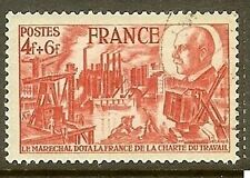 "FRANCE TIMBRE STAMP N°608 "" CHARTE DU TRAVAIL "" OBLITERE TB"