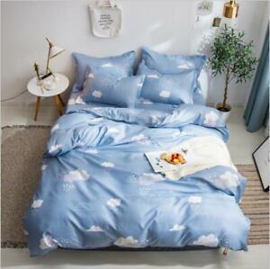 Clouds Blue Comfort Bedding Set Duvet Quilt Cover+Sheet+Pillow Case Four-Piece
