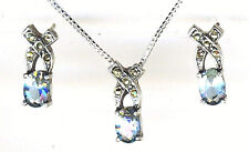 "925 Sterling Silver Blue Topaz & Marcasite Earrings & Pendant Set on 18"" Chain"