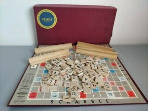 Vintage JW Spears & Sons Scrabble Board Game 1953 with Wooden Racks & Tiles
